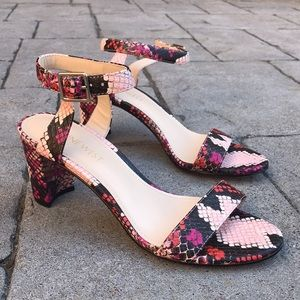 Nine West Pink Snake Print Pixel Heeled Sandals